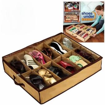 Home essential 12Pairs Shoes Organizer Holder Under Bed Closet Storage Fabric Bag Price Philippines