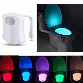 Durable 8 Color Body Sensing Automatic LED Motion Sensor Toilet Bowl Night Light - intl Price Philippines