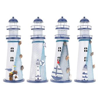 Harga New Durable Handmade Mediterranean Nautical Color Changing LED Lighthouse Lantern Light L - intl