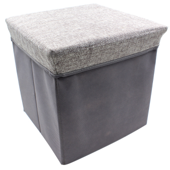 Wallmark Linen Fabric Ottoman Storage Box Chairs (Mamba Gray) Price Philippines