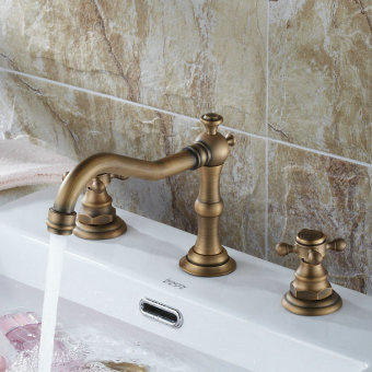 Harga Antique brass Widespread Three Holes Two Handles Bathtub Faucet Solid brass Bathroom Sink Faucet
