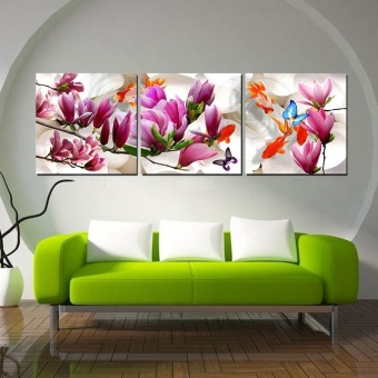 40x40cm Unframed 3 Piece Canvas Art Magnolia Print HD Wall Pictures for Living Room Painting Nordic Art Home Decor - intl Price Philippines