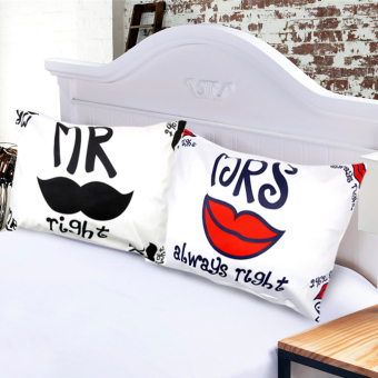 Set of 2 Perfect Cotton Bedding Pillow Case Cool Couple Mr. Right And Mrs. Always Right Price Philippines