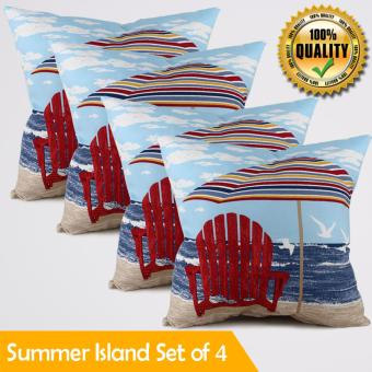 "Home Essentials Summer Island Canvas 16"" x 16"" Throw Pillow Case Set of 4 Price Philippines"