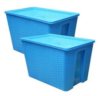 45 Liters 3j Square Woven Storage Box with Cover Set of Two (Blue) Price Philippines