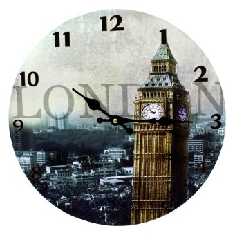 Harga Wallmark London Big Ben Wooden Wall Clock
