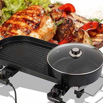 2-in-1 Smokeless Korean Hot-Pot Design Multi-Function Electric Griddle (Black) Price Philippines
