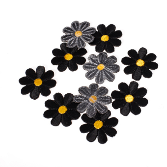 S & F Ten Pieces Embroidered Applique Flower Patch Black Price Philippines