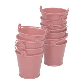 10x Mini Cute Bucket Colored Wedding Party Favour Keg Box Gift Pails Candy Lolly (Pink) Price Philippines