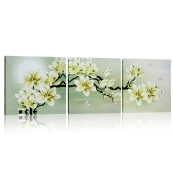 3Pcs Magnolia Spray Oil Paint Flower Painting Triptych Canvas Home Decor Wall Price Philippines