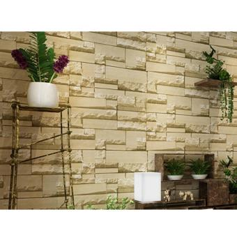 OrangeTag 3D Beige Brick Adhesive Wallpaper / Wall Paper (10 meters) Price Philippines