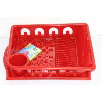 Harga Oriental Dish Drainer With Tray - Red