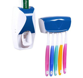 Harga G@Best New Design Hands Free Toothpaste Dispenser with ToothBrush Holder (Blue)