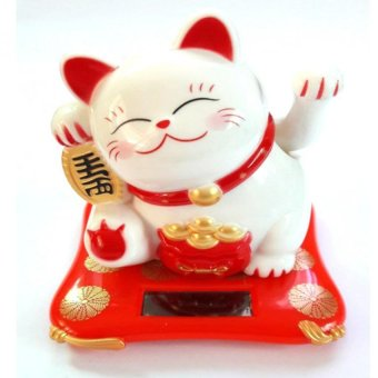 Harga Be Lucky Charms Feng Shui White Lucky Charm Cat Solar Powered