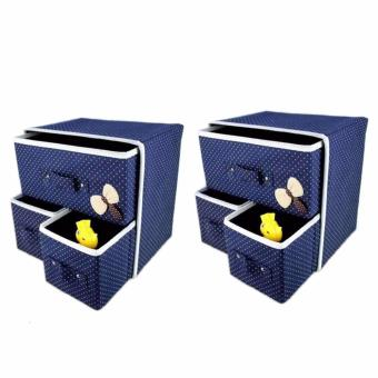 LOVE&HOME Foldable Woven Clothing Storage Box Set2 (Blue) Price Philippines