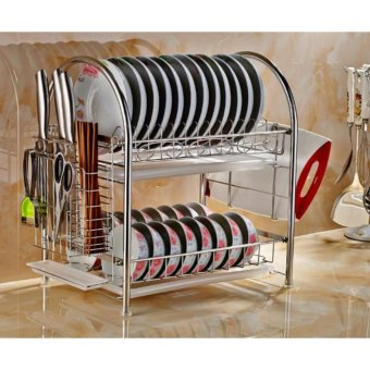 Harga Kitchen Rack Dish Rack 304 Stainless steel Chopping Block Rack - intl