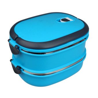 Harga Multilayer Stainless Steel Insulation Lunch Bento Box Food Container Blue - intl