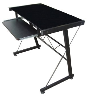 Harga JIT717 Glass Top Computer Table (Black)