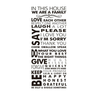 360WISH House Rules In This House We Are A Family Love Each Other Respect One Another Inspirational Quotes Waterproof Removable PVC Vinly Wall Sticker Home Art Decor Decal(55*128cm) (EXPORT) Price Philippines