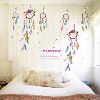 GETEK Dreamcatcher Feathers Windbell Wall Sticker (Multicolor) Price Philippines