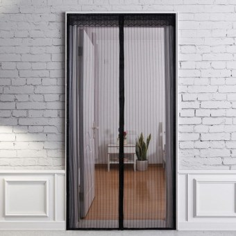 Black 210 X 100Cm Hands Free Magic Mesh Screen Net Door Withmagnets Anti Mosquito Window Curtain - intl Price Philippines