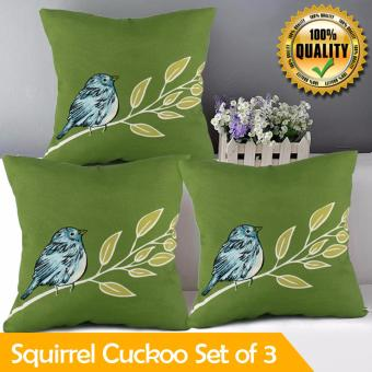 "Home Essentials Squirrel Cuckoo Canvas 16"" x 16"" Throw Pillow Case Set of 3 Price Philippines"