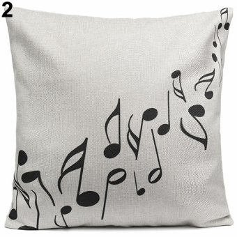 Harga Bluelans Square Music Notes Melody Linen Throw Pillow Case Waist Sofa Cushion Cover 2 - intl