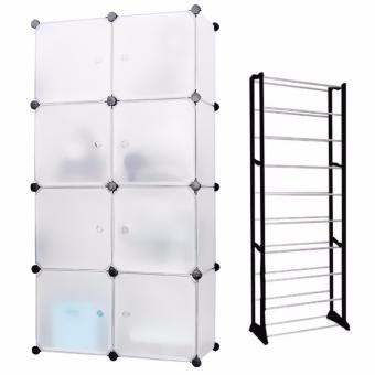 Keimav Portable Tupper Cabinet White Doors 8 Cubes DIY Storage Wardrobe (White) with Amazing Shoe Rack (Black/White) Price Philippines