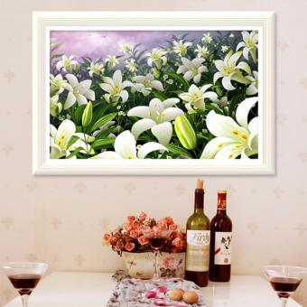 Harga Rising Star Lily Flower DIY 5D Diamond Painting Cross Stitch Full Drill Rhinestone Painting Decor #9604