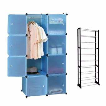 Tupper Cabinet White Doors 8 Cubes DIY Storage Wardrobe (Blue) with Amazing Shoe Rack (White/Black) Price Philippines