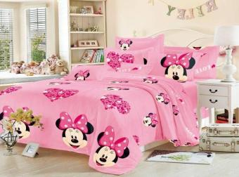 Harga KurstenShop 4in1 BedSheet Cotton Animated Minnie Mouse Design ( 2 pcs Pillow Case , 1 pcs Fittedsheet and 1 pcs Beadsheet)-Single