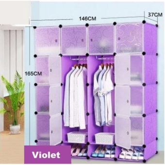 Tupper Cabinet 16 Cubes Doors DIY Storage Cabinet with Bottom Shoe Rack (Violet) Price Philippines