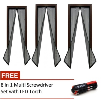 Magic Mesh Instant Screen Door (Black) set of 3 with free 8 in 1 Multi Screwdriver with LED Torch Price Philippines