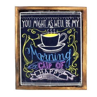 Harga Wallmark Morning Cup of Happy Wooden Poster
