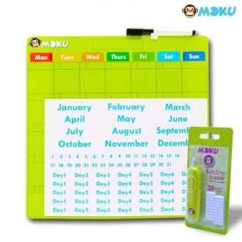 Harga MOKU Magnetic Calendar (Green) with MOKU Electric Eraser (Green)
