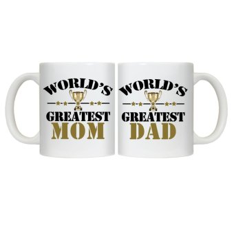 Harga CopyCut Couple Cute Statement Mug World's Greatest Mom Dad - Gift Set