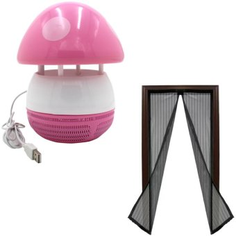 Mini USB Mushroom Shaped LED Photocatalyst Mosquito Killer & Lamp (Pink) With Magic Mesh Instant Screen Door (Black) Price Philippines