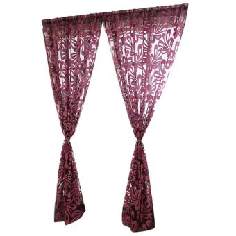 Harga 2pcs Leaf Tulle Door Window Curtain Drape Panel Sheer Scarf Valances Red - intl