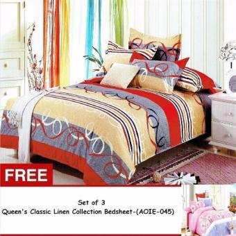 Queen Classic Linen Collection Bedsheet Set of 3 (AOIE-040)Queen with Free Queen Classic Linen Collection Bedsheet Set of 3 (AOIE-045)Queen Price Philippines