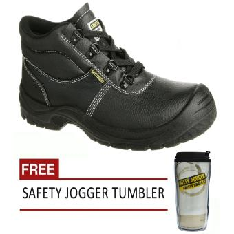 Harga Safety Jogger Safetyboy S1P High Cut Men Safety Shoes Footwear Steel Toe (Black) with Free Safety Jogger Tumbler