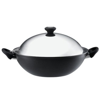 Harga Meyer Cook n' Look induction Chinese Wok with Stainless Steel Lid (Black) (18896)