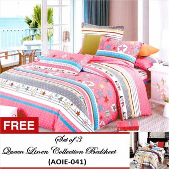 Queen Classic Linen Collection Bedsheet Set of 3(AOIE-053)Queen with Free Queen Classic Linen Collection Bedsheet Set of 3(AOIE-041)Queen Price Philippines