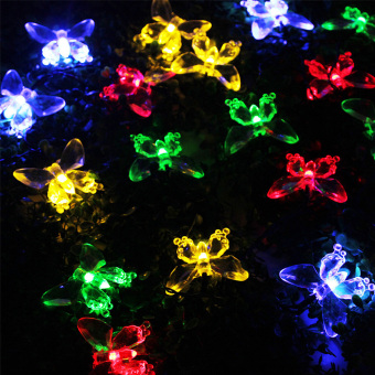 Harga New Solar Power Waterproof 20 LED Lights Butterfly Shape Decor Colorama (Intl)