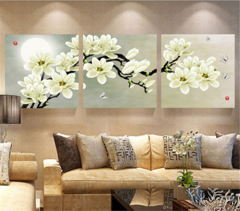 Audew 3 Panel Modern Abstract Magnolia Flower Painting On Canvas Wall Art No Frame 60x60cm Price Philippines