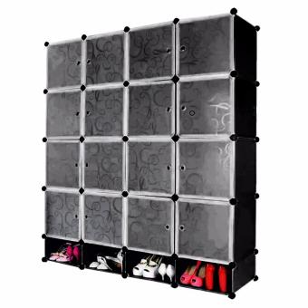 Tupper Cabinet 16 Cubes Doors DIY Storage Cabinet with Bottom Shoe Rack (Black) Price Philippines