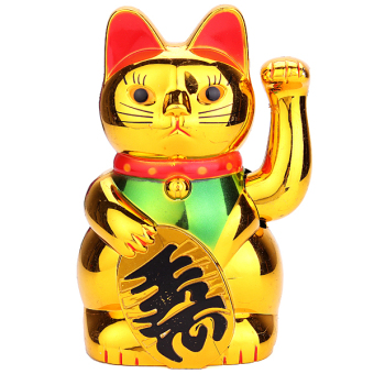 Harga Chinese Lucky Fortune Waving Gold Cat Figure with Moving Arm Feng Shui Money