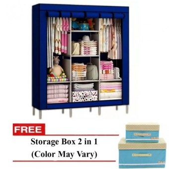 Harga 88130 Storage Wardrobe (Navy Blue) with Free 2 in 1 Storage Box (Color May Vary)