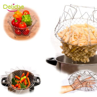 1 pcs Stainless Steel Frying Basket Foldable Fry Basket Steam Rinse Strain Magic Basket Mesh Basket Strainer Net Cooking Tool Price Philippines