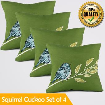 "Home Essentials Squirrel Cuckoo Canvas 16"" x 16"" Throw Pillow Case Set of 4 Price Philippines"