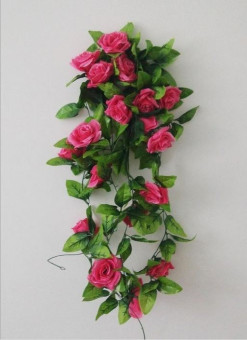 Harga 240cm 9 Rose Artificial Fake Rose Flower Vine Garland Ivy Vine Hanging Garland For Decoration (Rose Red)